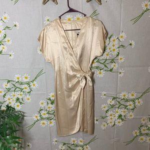 Vintage satin creme wrap dress